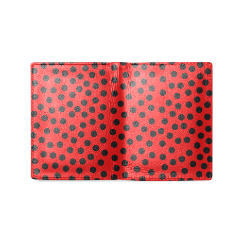 Black Polka Dot Design Men's Leather Wallet (Model 1612)