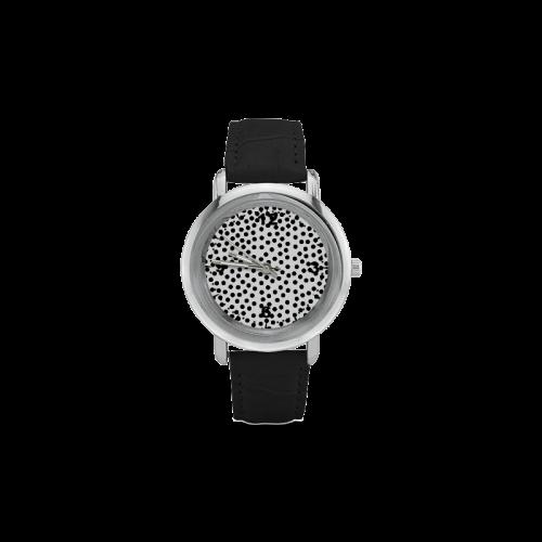 Black Polka Dot Design Women's Rose Gold Leather Strap Watch(Model 201)