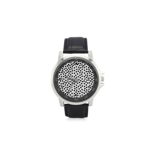 Black Polka Dot Design Unisex Stainless Steel Leather Strap Watch(Model 202)