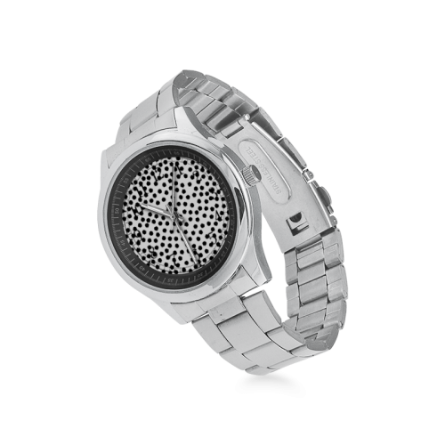 Black Polka Dot Design Men's Stainless Steel Watch(Model 104)