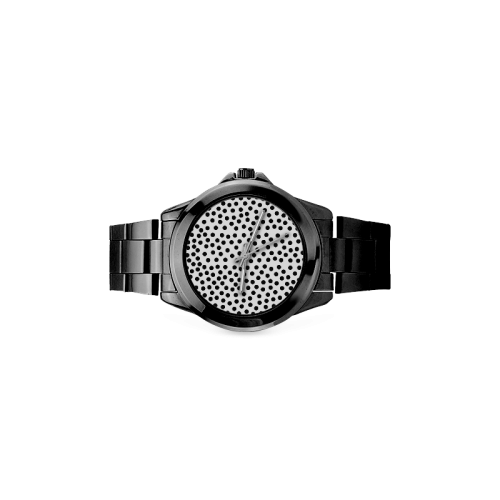 Black Polka Dot Design Women's Italian Charm Watch(Model 107)