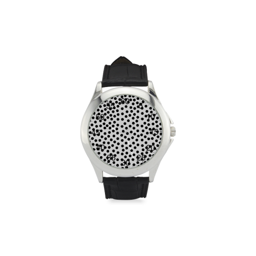 Black Polka Dot Design Women's Classic Leather Strap Watch(Model 203)