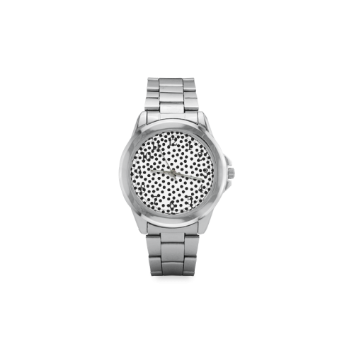 Black Polka Dot Design Unisex Stainless Steel Watch(Model 103)