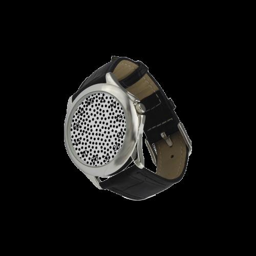 Black Polka Dot Design Women's Classic Leather Strap Watch(Model 203)