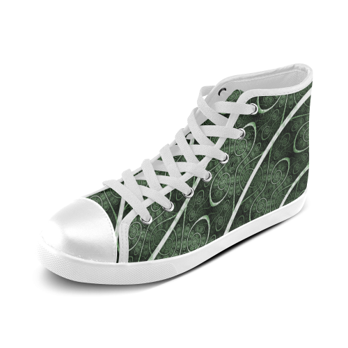 Beautiful curve texture pattern Women's High Top Canvas Shoes (Model 002)