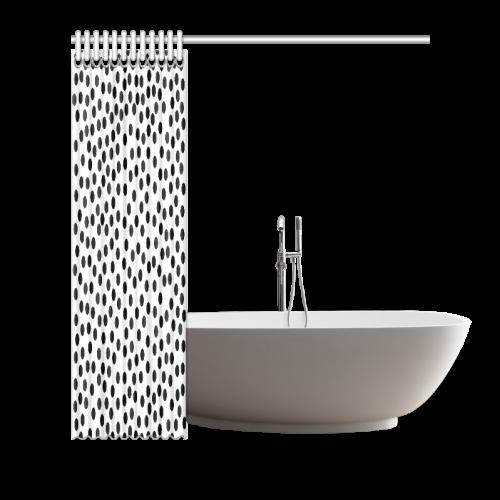 "Black Polka Dot Design Shower Curtain 66""x72"""
