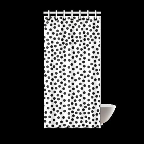 "Black Polka Dot Design Shower Curtain 36""x72"""