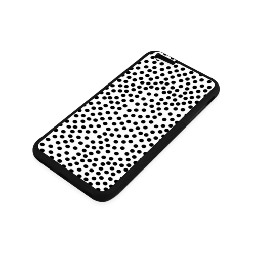 Black Polka Dot Design Rubber Case for iPhone 6/6s Plus