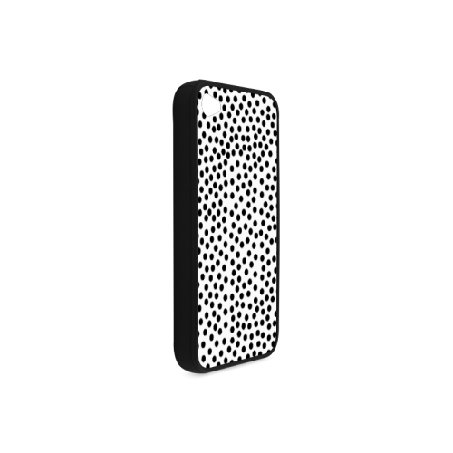 Black Polka Dot Design Rubber Case for iPhone 4/4s