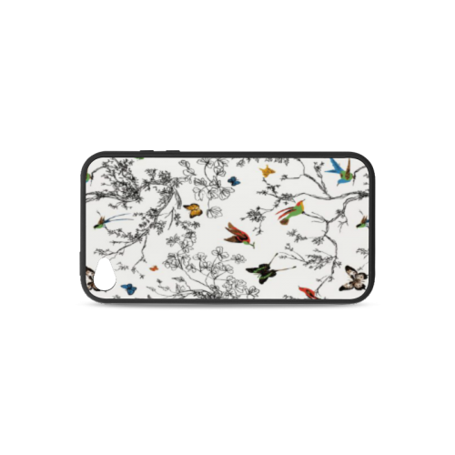 Birds and butterflies Rubber Case for iPhone 4/4s