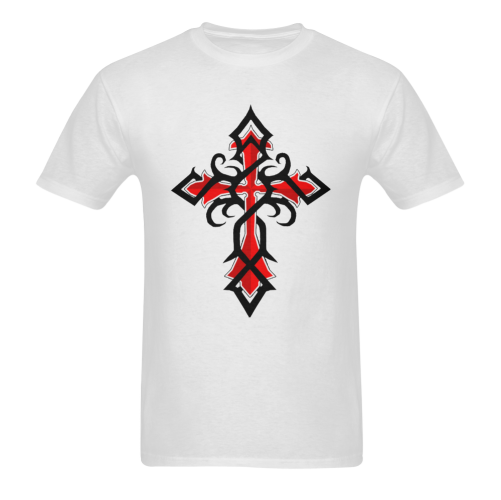 Black And Red Series Tribal Cross Tattoos Sunny Men's T- shirt (Model T06)