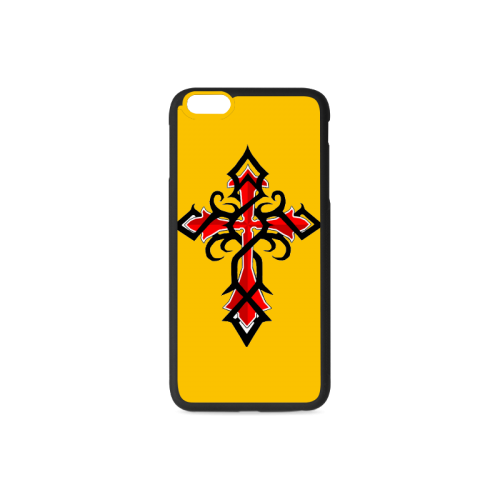 Black And Red Series Tribal Cross Tattoos Rubber Case for iPhone 6/6s Plus