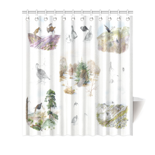 "Birds puzzle Shower Curtain 66""x72"""