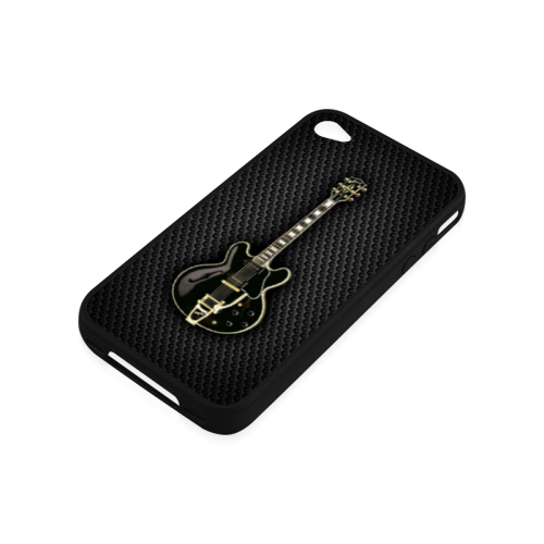 Black gibson-es-345 Rubber Case for iPhone 4/4s
