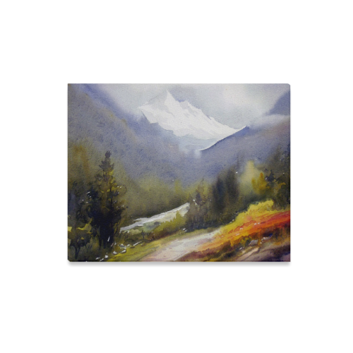 """Beauty of Himalaya-Watercolor on Paper Painting Canvas Print 20""""x16"""""""