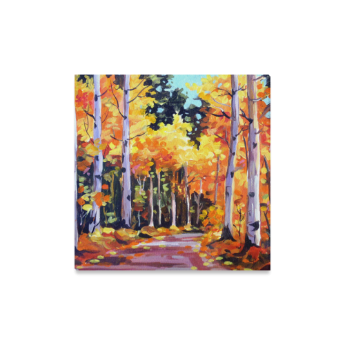 "Beauty of Autumn Forest - Acrylic Painting Canvas Print 16""x16"""