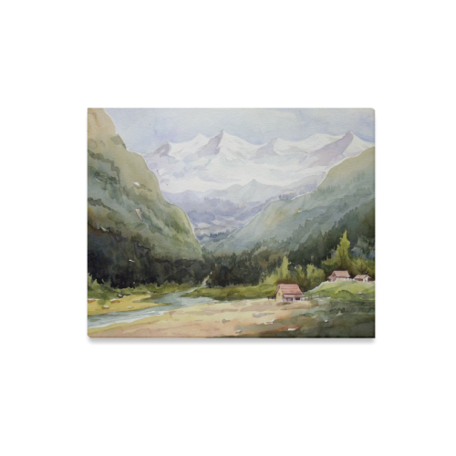 """Beauty of Himalaya -watercolor painting design on Canvas Canvas Print 20""""x16"""""""