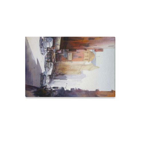"City Morning Light - Watercolor on Paper Painting Canvas Print 12""x18"""