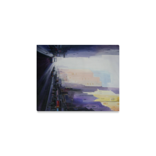 "Morning City Street- Acrylic Painting Canvas Print 8""x10"""