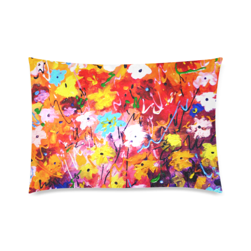 """Abstract Flower Painting design Custom Zippered Pillow Cases 20""""x30""""(Twin Sides)"""