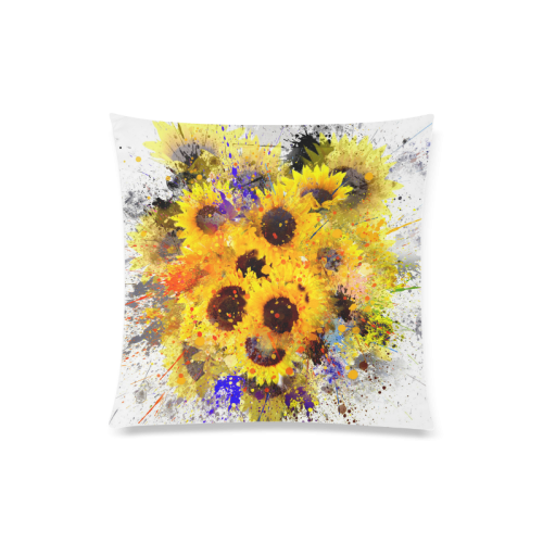 "Splashing Sunflowers Painting Design Custom Zippered Pillow Case 20""x20""(Twin Sides)"