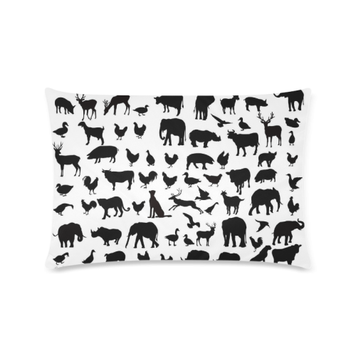 "Animals & Birds Silhouette Set Design Custom Zippered Pillow Cases 16""x24""(Twin Sides)"