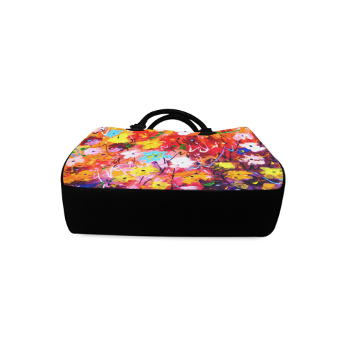 Abstract Flower Painting Design Boston Handbag (Model 1621)