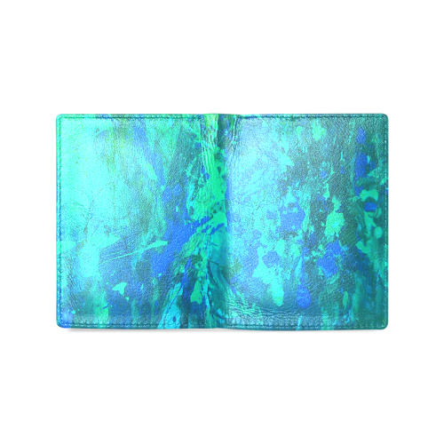 blue musical abstract art Men's Leather Wallet (Model 1612)