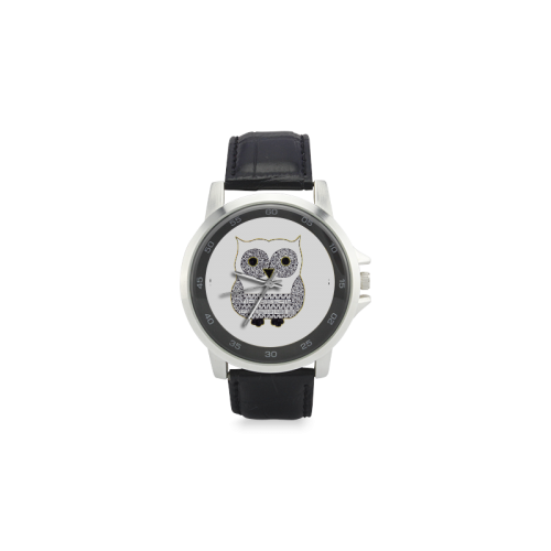 Black and White Owl Unisex Stainless Steel Leather Strap Watch(Model 202)