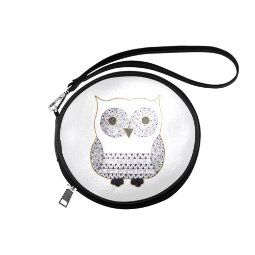Black and White Owl Round Makeup Bag (Model 1625)