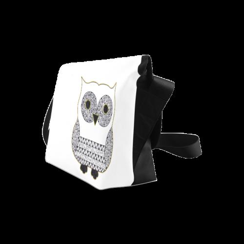 Black and White Owl Crossbody Bag/Large (Model 1631)