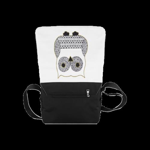 Black and White Owl Messenger Bag (Model 1628)