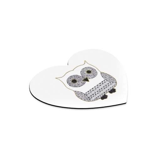 Black and White Owl Heart-shaped Mousepad