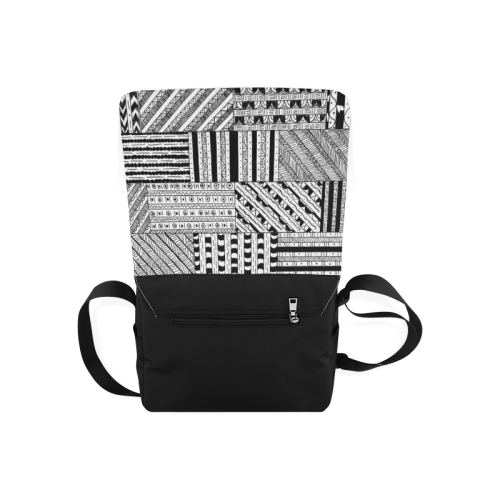 Abstract Black and White Messenger Bag (Model 1628)