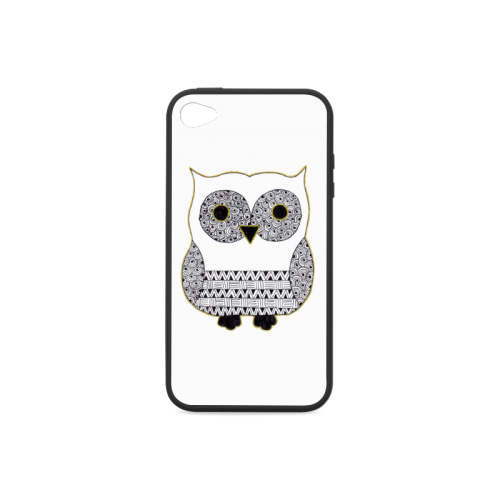 Black and White Owl Rubber Case for iPhone 4/4s