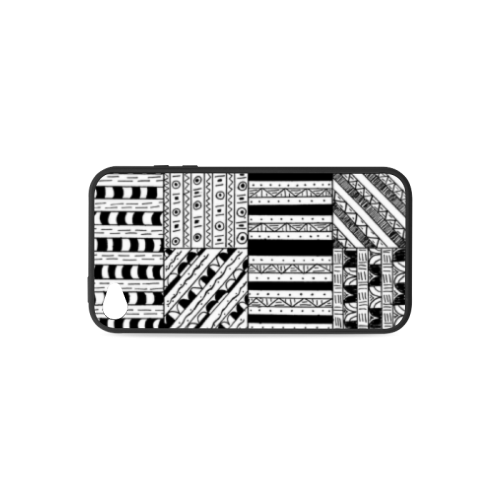 Abstract Black and White Rubber Case for iPhone 4/4s