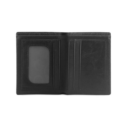 Abstract Black and White Men's Leather Wallet (Model 1612)