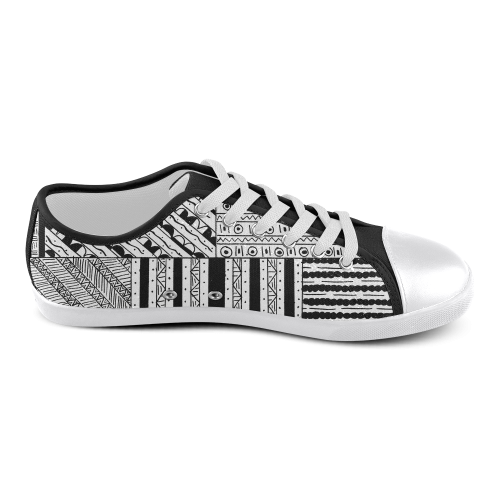 Abstract Black and White Women's Canvas Shoes (Model 016)