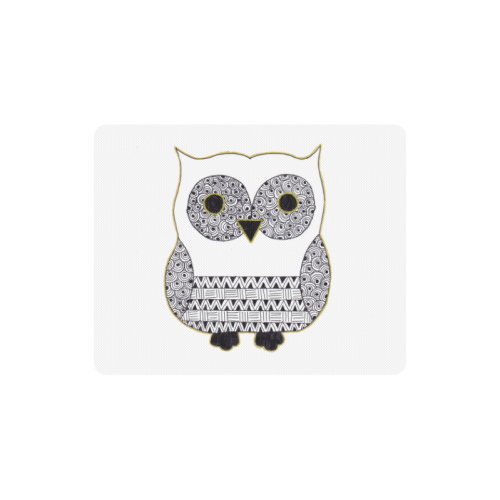 Black and White Owl Rectangle Mousepad