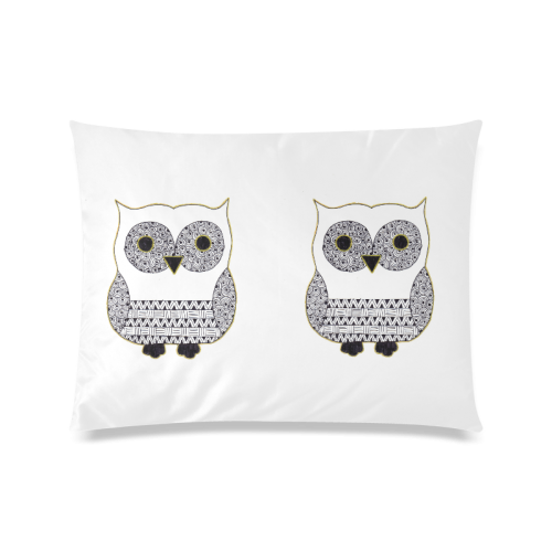 "Black and White Owl Custom Zippered Pillow Case 20""x26""(Twin Sides)"