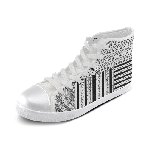 Abstract Black and White Women's High Top Canvas Shoes (Model 002)