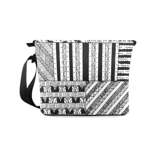 Abstract Black and White Crossbody Bag/Large (Model 1631)