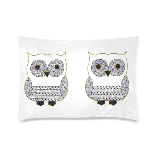 "Black and White Owl Custom Zippered Pillow Cases 20""x30""(Twin Sides)"