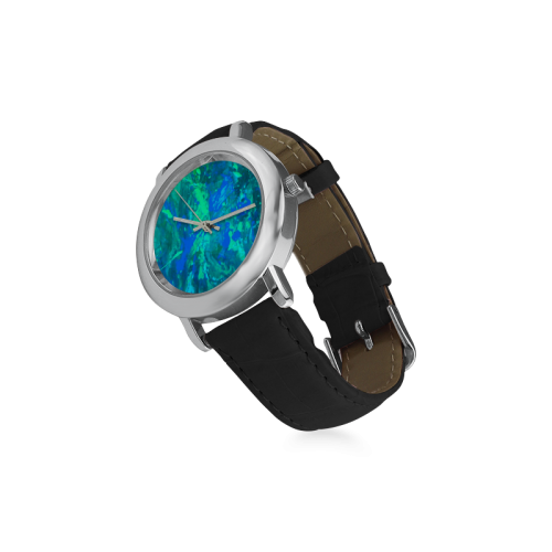 blue musical abstract art Women's Rose Gold Leather Strap Watch(Model 201)