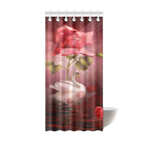 Rose Swan Shower Curtain 36x72