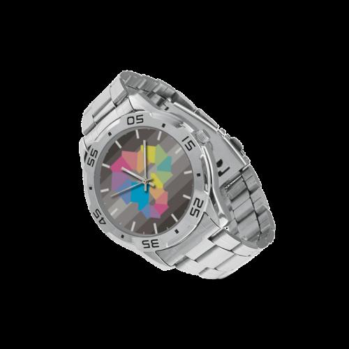 Square Spectrum (Rainbow) Men's Stainless Steel Analog Watch(Model 108)