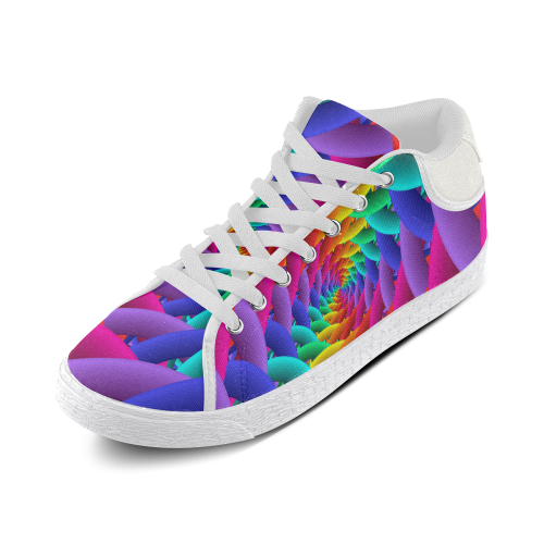 Psychedelic Rainbow Spiral Canvas Shoes Women's Chukka Canvas Shoes (Model 003)