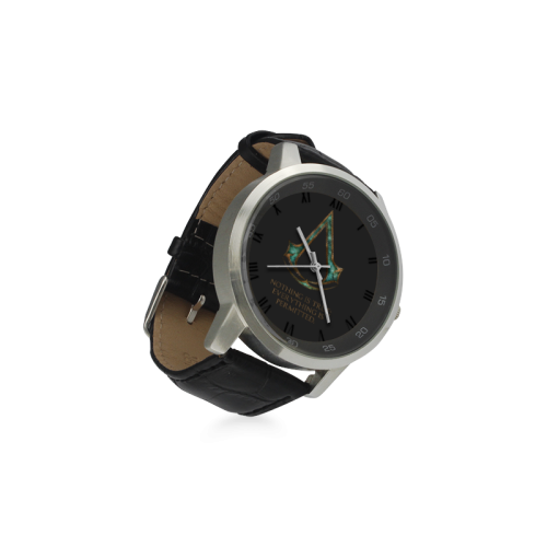Assassins Creed Skyrim lexicon mashup Unisex Stainless Steel Leather Strap Watch(Model 202)