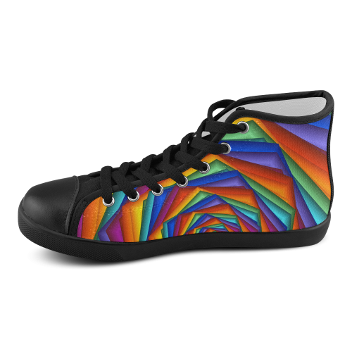 Psychedelic Rainbow Spiral Women's High Top Canvas Shoes (Model 002)