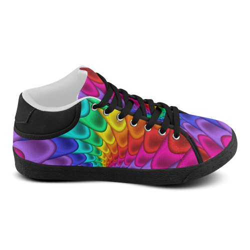 Psychedelic Rainbow Spiral Women's Chukka Canvas Shoes (Model 003)